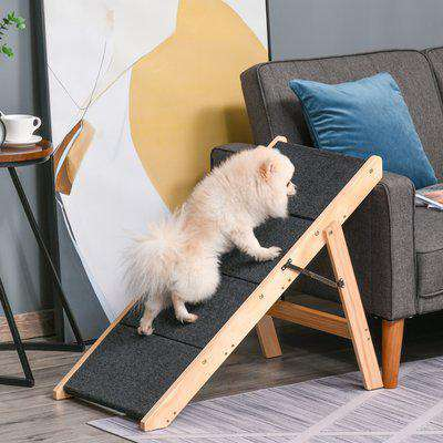 PawHut Pet Stairs & Ramp for Animals, Carpeted Four-Level Cat Steps for Reaching Bed, Couch, and Car 80L x 47W x 64H cm