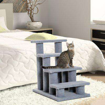 PawHut Pet Stairs 4 Steps for Sofa Tall Bed Dog Cat Little Older Animal Climb Ladder Portable Pet Access Assistance 63.5x43x60cm Grey