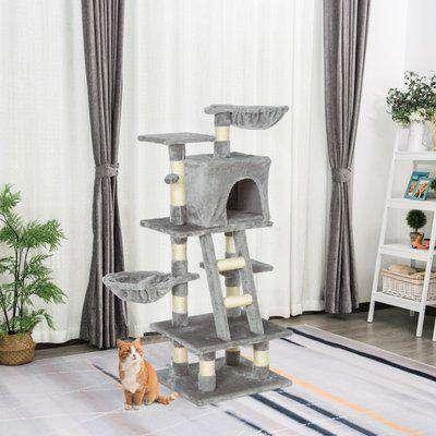 PawHut 1.2m Plush Cat Tree Activity Center with Sisal Scratching Posts Basket Perch Condo, Light Gray