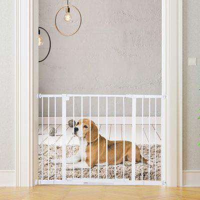 PawHut Pressure Fitted Pet Dog Safety Gate Metal Fence Extending 72-107cm Wide