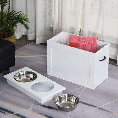 PawHut Raised Pet Feeding Storage Station with 2 Stainless Steel Bowls Base for Large Dogs and Other Large Pets, White