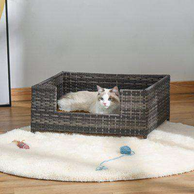 PawHut Rattan Dog Cat Bed Four Feet Pet House Hand-knitted Metal Small Animal Sofa Rattan with Soft Machine Washable Cushion White-gray