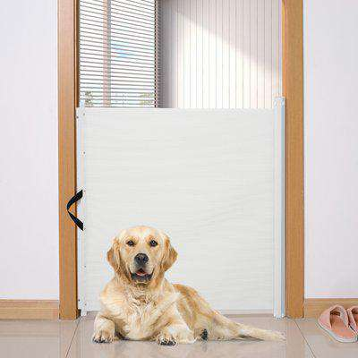 PawHut Retractable Dog Pet Safety Gate Barrier-White