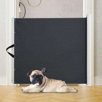 PawHut Retractable Safety Gate Stair Gate Folding Room Divider Barrier for Dogs Pets 115Lx82.5Hcm Grey
