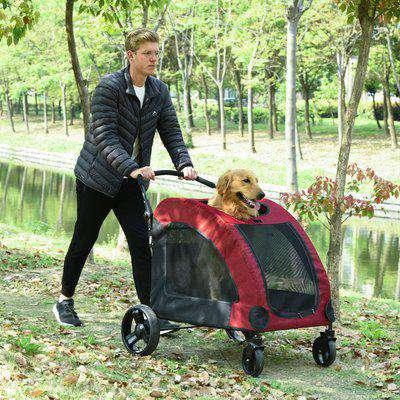 PawHut Small-Medium Dog Trailer Carrier w/ Mesh Windows Large Door 4 Wheels Inner Cushion Handle Pet Travel Assistance Red