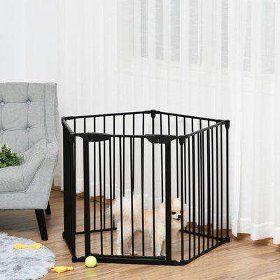 PawHut Stair Gate Dog Pens Pet PlayPen 5-Panel Freestanding Fireplace Christmas Tree Metal Fence Stair Barrier Room Divider with Walk Through Door
