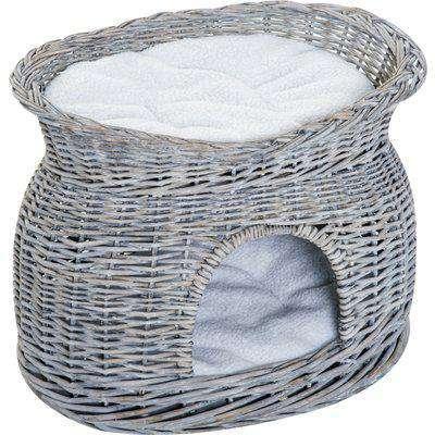 PawHut 2-Tier Elevated Cat Bed Basket W/Cushion-Grey