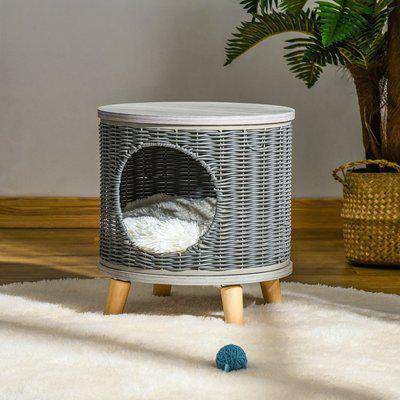 PawHut Wicker Cat Bed 2-IN-1 Elevated Rattan Kitten Basket Pet House Cozy Cave Ottoman with Soft Cushion Removable Feet Φ36 x 40.5cm Grey
