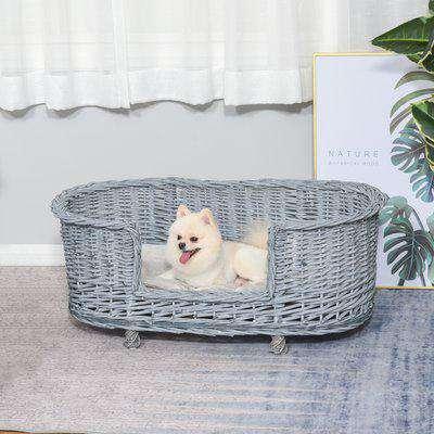 PawHut Wicker Dog Bed Basket Pet Sofa Cat Lounge Furniture with Elevated Base Soft Padded Cushion Grey 92cm X 52cm X 38cm