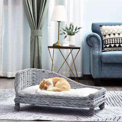 Pawhut Wicker Dog Cat Bed Kitten Lounger Pet Bed Rattan Willow Basket Soft Cushion Lightweight 69 x 42 x 33 cm Grey