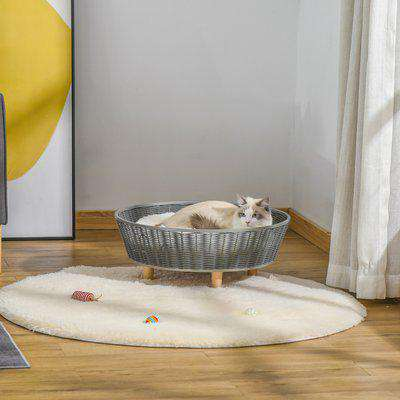 PawHut Wicker Dog Cat Bed Raised Pet House Hand-knitted Rattan Small animal Sofa with Soft Washable Cushion Indoor 60 x 60 x 23.5cm