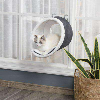PawHut Windowsill Mounted Cat Perch Hanging Kitten House with Comfortable Removable Flannel Carpet for Playing Lounging Climbing Jumping Grey & White