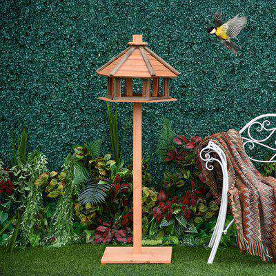 PawHut Wooden Bird Feeder Bird Table Bird House Playstand with Water-resistant Roof 130cm for Outside Use Brown