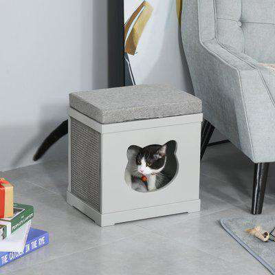 PawHut Wooden Cat House Bed Cat Scratching Cube for Small Cat Pet Furniture with Removable Scratching Pad and Soft Cushion Grey