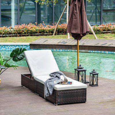 Rattan Sun Lounger Brown with Cushion Outsunny®
