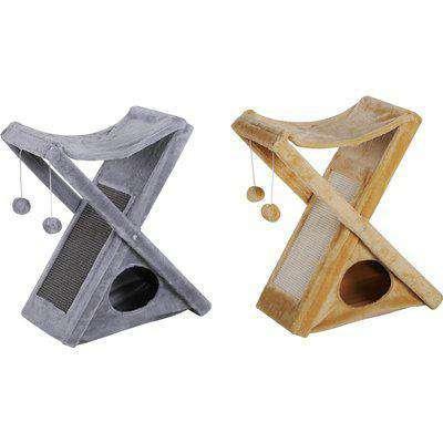 Two Tier Cat Tree Kitten Play Activity Tower w/ Scratching Post Hammock Pom Poms Plush Folding 4kg
