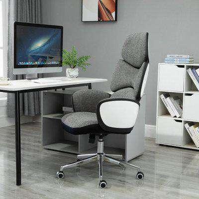 Vinsetto Desk Chair Padded Linen Ergonomics Height Adjustable Office Chair High-Back White/Grey