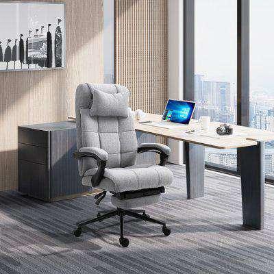 Vinsetto Ergonomic Office Desk Chair Adjustable Height Rolling Swivel w/Armrest Light Grey