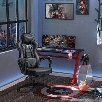 Vinsetto Ergonomic Racing Gaming Chair Office Desk Chair Adjustable Height Recliner with Wheels, Headrest,Lumbar Support Retractable Footrest , Blue