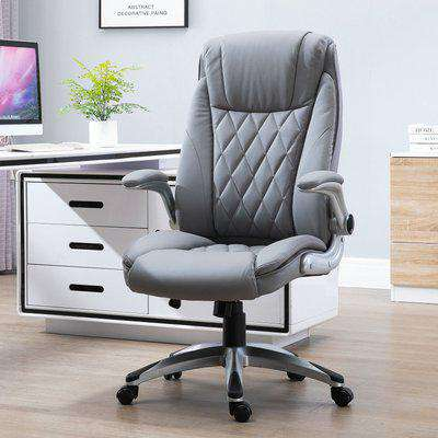 Vinsetto Executive Office Chair Sleek Ergonomic PU Leather 360° Rotation w/ Headrest in Grey