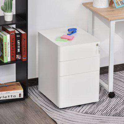 Vinsetto Fully Assembled 3 Drawer Steel Metal Filing Cabinet Lockable Rolling Vertical File Cabinet White