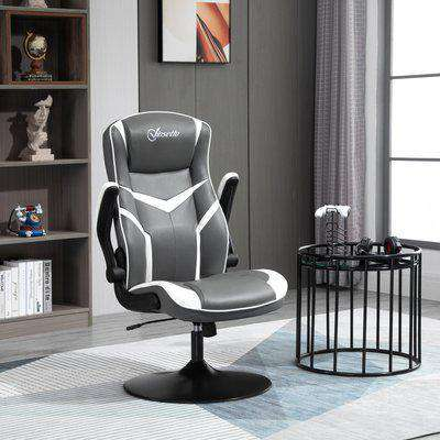 Vinsetto Gaming Chair Ergonomic Computer Chair with Adjustable Height Pedestal Base, Home Office Desk Chair PVC Leather Exclusive Swivel Chair
