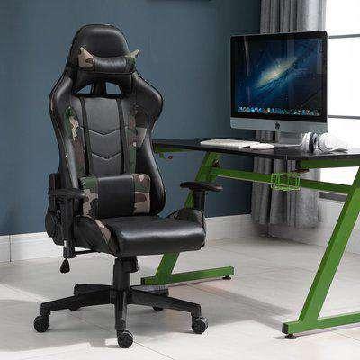 Vinsetto Gaming Office Chair High Back Reclining Gaming Chair w/Vibrating Lumbar Cushion Rocking,Green