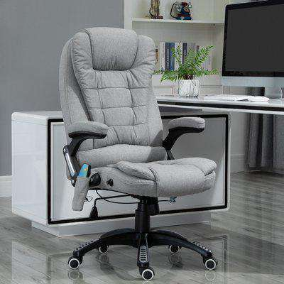 Vinsetto Heated Massage Recliner Office Chair Ergonomic Gaming Heated Home Office Padded Linen-Feel Fabric & Swivel Base Light Grey