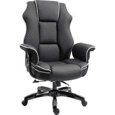 Vinsetto High-Back Computer Gaming Chair, PU Leather Swivel Desk Chair Ergonomic Recliner with Padded Armrests, Adjustable Seat Height, Black