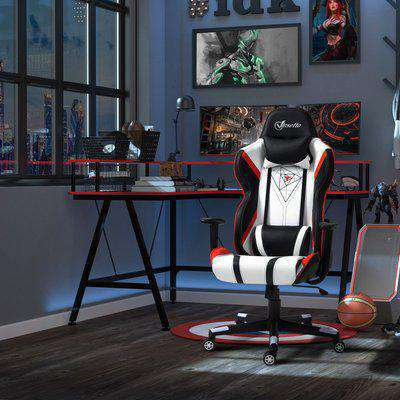 Vinsetto High Back Gaming Chair with Headrest, Arm, Lumbar Support, Swivel Home Office PU Leather Recliner Racing Gamer Desk Chair, Black White Red