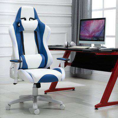 Vinsetto LED Light Racing Chair Ergonomic Thick Padding High Back w/ Removable Pillows Adjustable Height 5 Wheels 360° Swivel White Blue