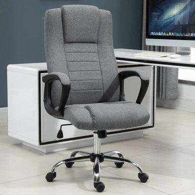 Vinsetto Linen Upholstered Tilting Home Office Chair Grey