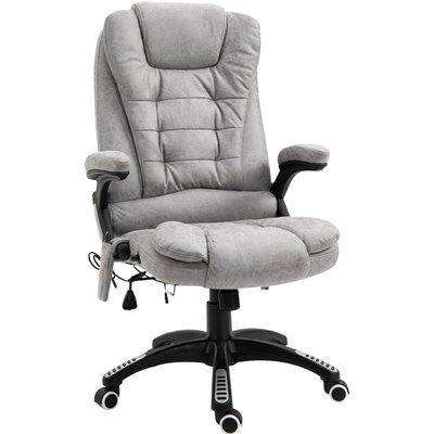 Vinsetto Massage Office Chair 135° Recliner Ergonomic Gaming Heated Home Office Padded Leathaire Fabric & Swivel Base Grey