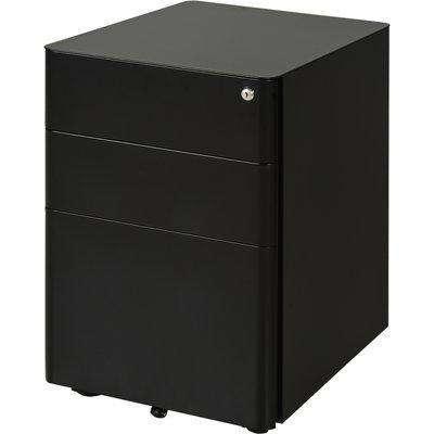 Vinsetto Metal 3-Drawer Filing Cabinet w/ Lock Black