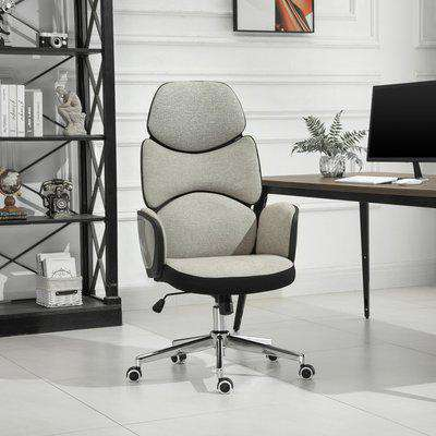 Vinsetto Modern Office Chair Ergonomic Thick Padding High Back Armrests Height Adjustable Rocking w/ 5 Wheels Swivel Home Office Beige Grey