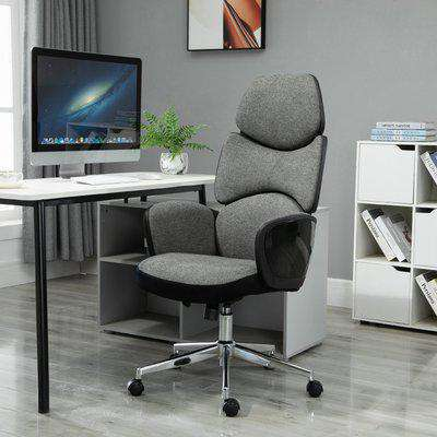 Vinsetto Padded Linen Ergonomic Home Office Chair w/ Wheels Grey