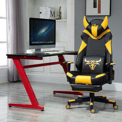 Vinsetto PU Leather Bull Horn Headrest Gaming Chair w/ Retractable Footrest Yellow
