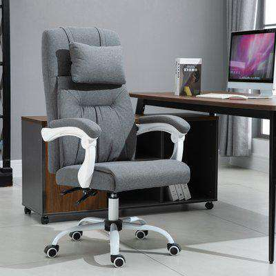 Vinsetto PU Leather Ergonomic Reclining Executive Home Office Chair w/ Pillow Grey