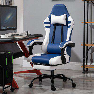 Vinsetto PU Leather Gaming Office Chair Ergonomic Reclining Gaming Chair w/ Retractable Footrest Blue/White