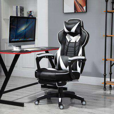 Vinsetto PU Leather Ergonomic Racing Gaming Office Chair Retractable Footrest Gaming Chair w/ Pillows Wheels Headrest Home Office White/Black