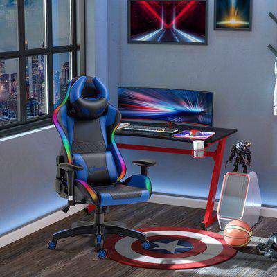 Vinsetto Racing Gaming Chair with RGB LED Light, Lumbar Support, Swivel Home Office Computer Recliner High Back Gamer Desk Chair, Black Blue