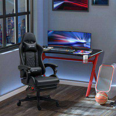 Vinsetto Racing Gaming Chair with Swivel Wheel, PU Leather Recliner Gamer Desk for Home Office, Black