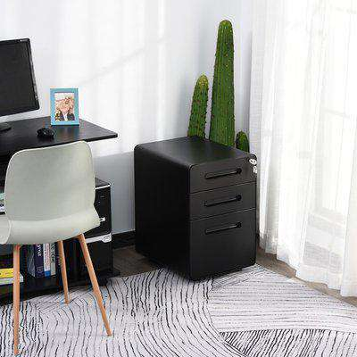 Vinsetto Steel 3-Drawer Curved Filing Cabinet Mobile File Cabinet W/ Lock Black
