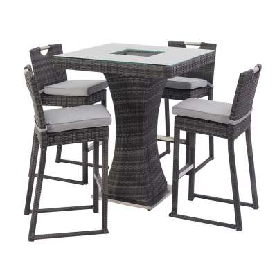 Alder 4 Seat Square Garden Bar Set with Ice Bucket in Grey Weave and Grey Fabric