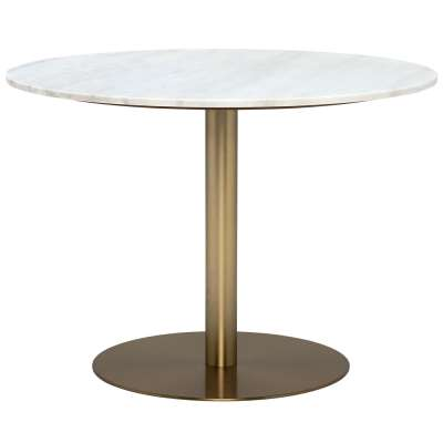 Apollo Dining Table, White Marble and Brushed Brass