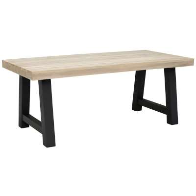 Beach Garden Dining Table, Graphite And Aged Teak 195cm