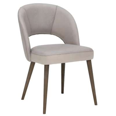 Beck Dining Chair - Grey - Leather - W55 x D60 x H82cm - Barker & Stonehouse