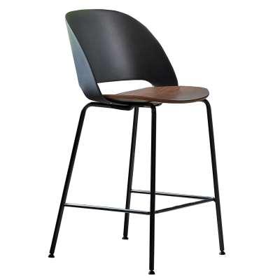 Bontempi Polo Barstool, Glossy Black Frame, Black Back and Walnut Seat