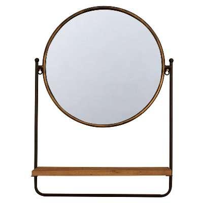 Brass Mirror with Shelf