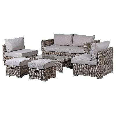 Brixham 6 Piece Garden Sofa Set in Grey Weave with Grey Fabric - Barker & Stonehouse